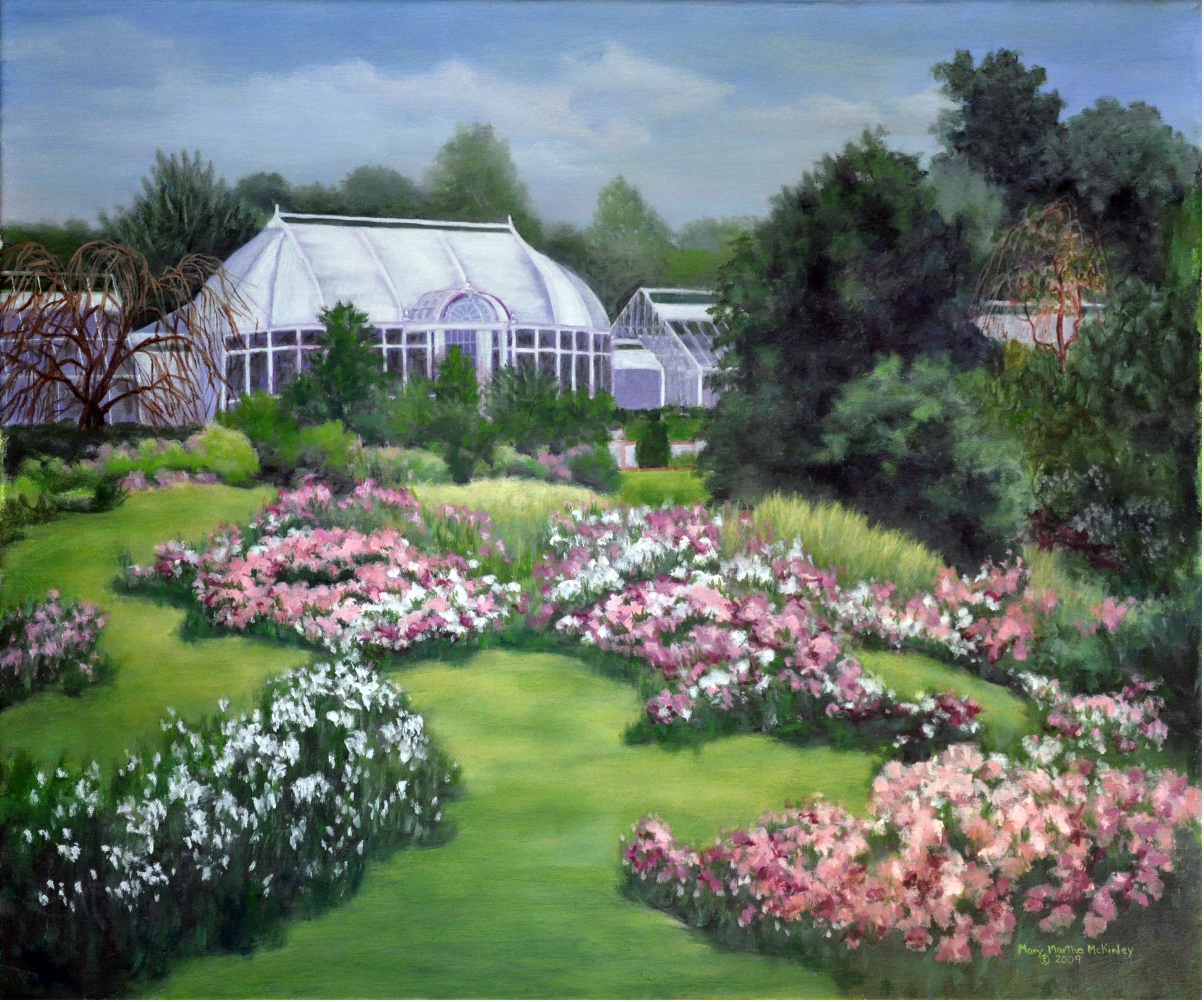 The Pink And Green Garden At Reynolda | Mary Martha McKinley Fine Art,  (work At Carlton Gallery Exclusively)